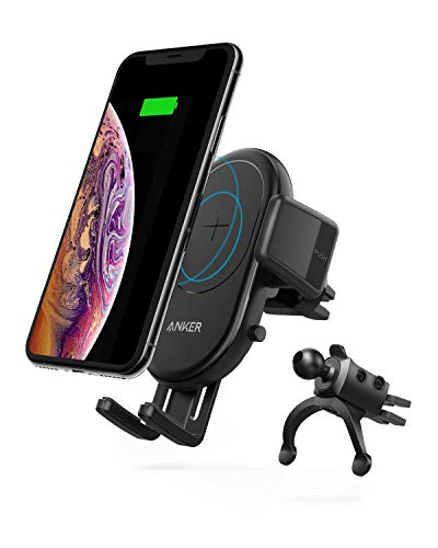 Anker PowerWave 7.5 Car Mount(10W エアコン吹き出し口取り付けワイヤレス充電器)【Qi認証取得/360°回転/急速充電】iPhone XS / XS Max / XR / X / 8 / 8 Plus、Galaxy S10 / S10+ / S9 / S9+、 LG G7、その他Qi対応機種各種対応