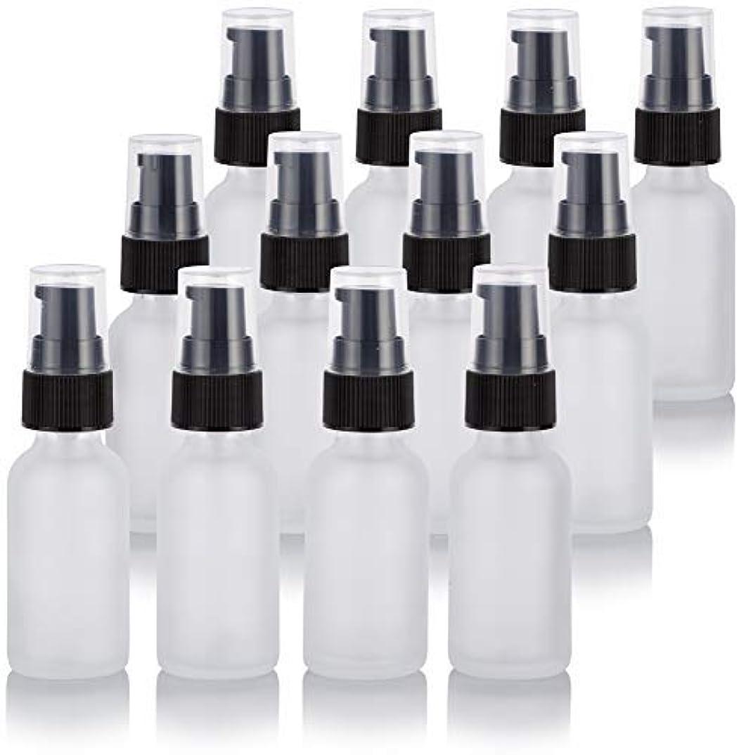期間処方する樫の木1 oz Frosted Clear Glass Boston Round Treatment Pump Bottle (12 Pack) + Funnel for Cosmetics, serums, Essential...
