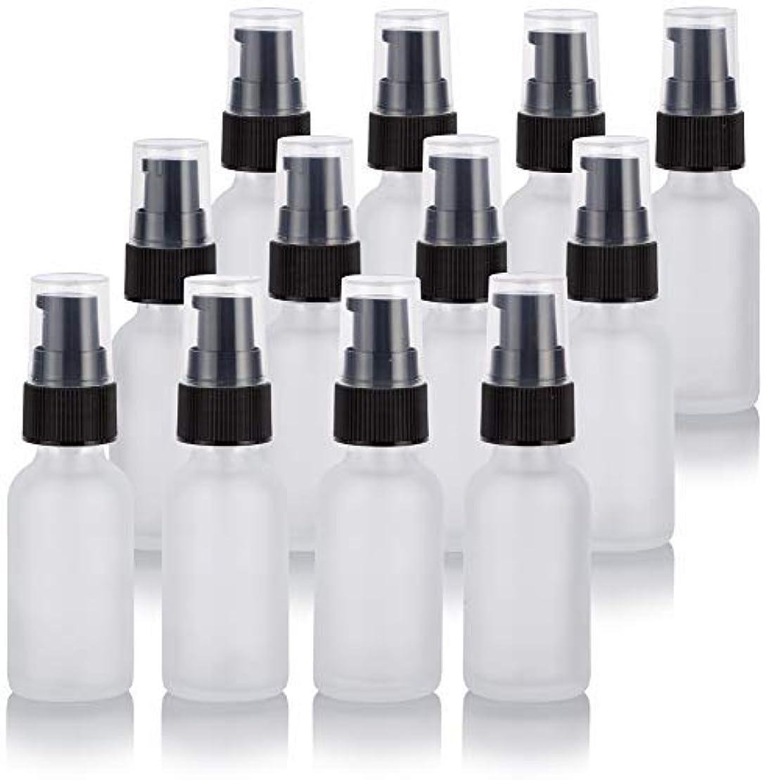 急降下約設定動かす1 oz Frosted Clear Glass Boston Round Treatment Pump Bottle (12 Pack) + Funnel for Cosmetics, serums, Essential...