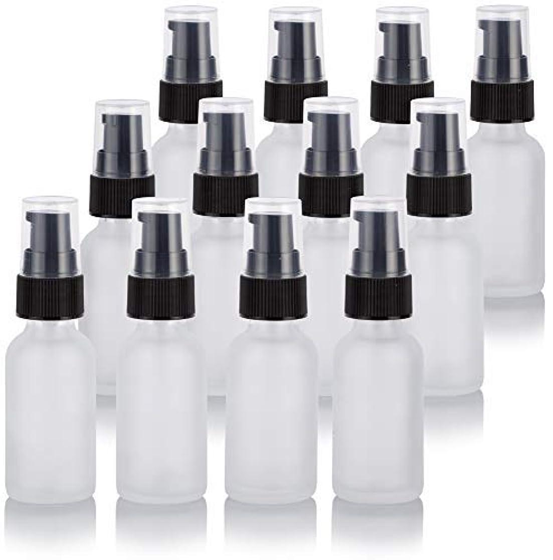 時代スキーマンハッタン1 oz Frosted Clear Glass Boston Round Treatment Pump Bottle (12 Pack) + Funnel for Cosmetics, serums, Essential...