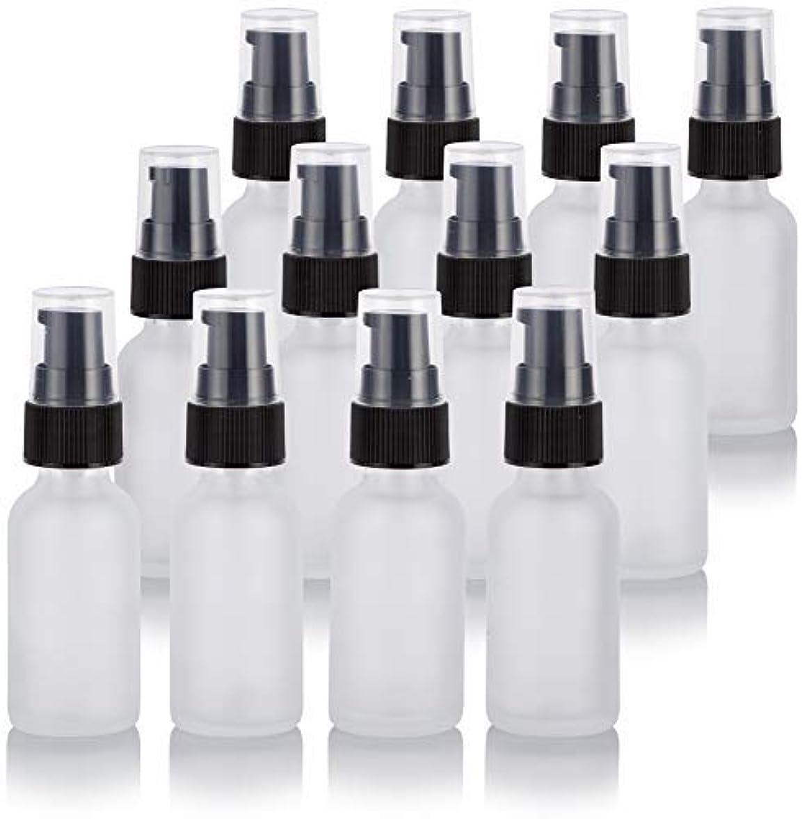 鉛筆に対してビヨン1 oz Frosted Clear Glass Boston Round Treatment Pump Bottle (12 Pack) + Funnel for Cosmetics, serums, Essential...