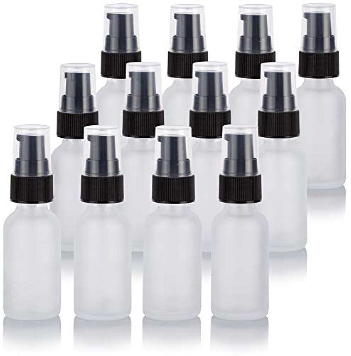 快い上がるブルゴーニュ1 oz Frosted Clear Glass Boston Round Treatment Pump Bottle (12 Pack) + Funnel for Cosmetics, serums, Essential...