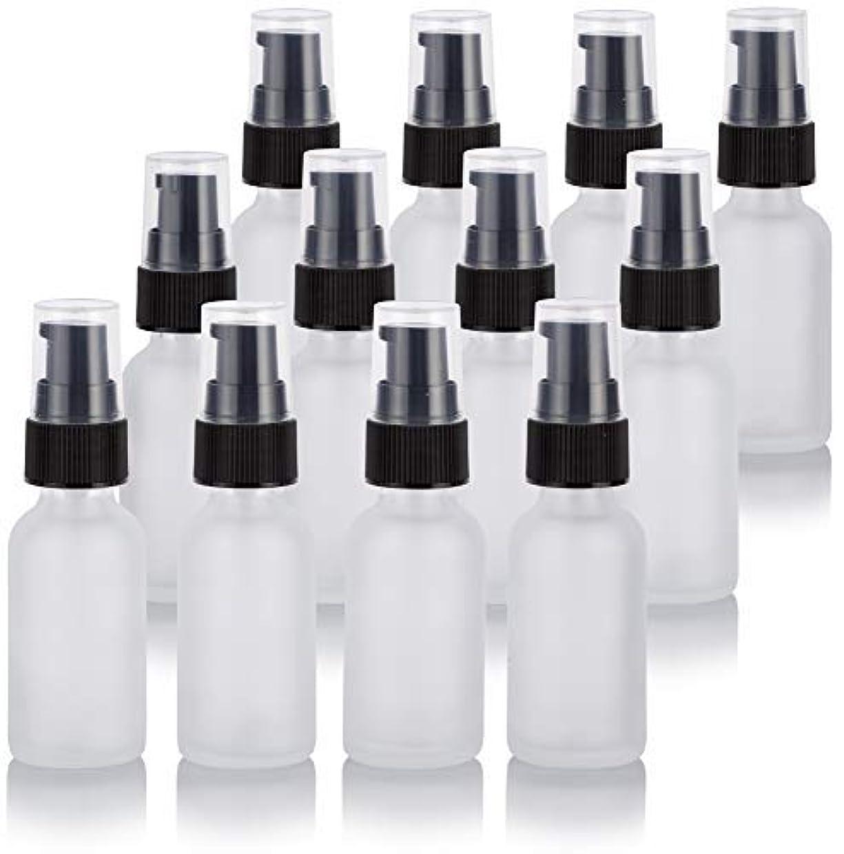 乳剤用量アラブ人1 oz Frosted Clear Glass Boston Round Treatment Pump Bottle (12 Pack) + Funnel for Cosmetics, serums, Essential...