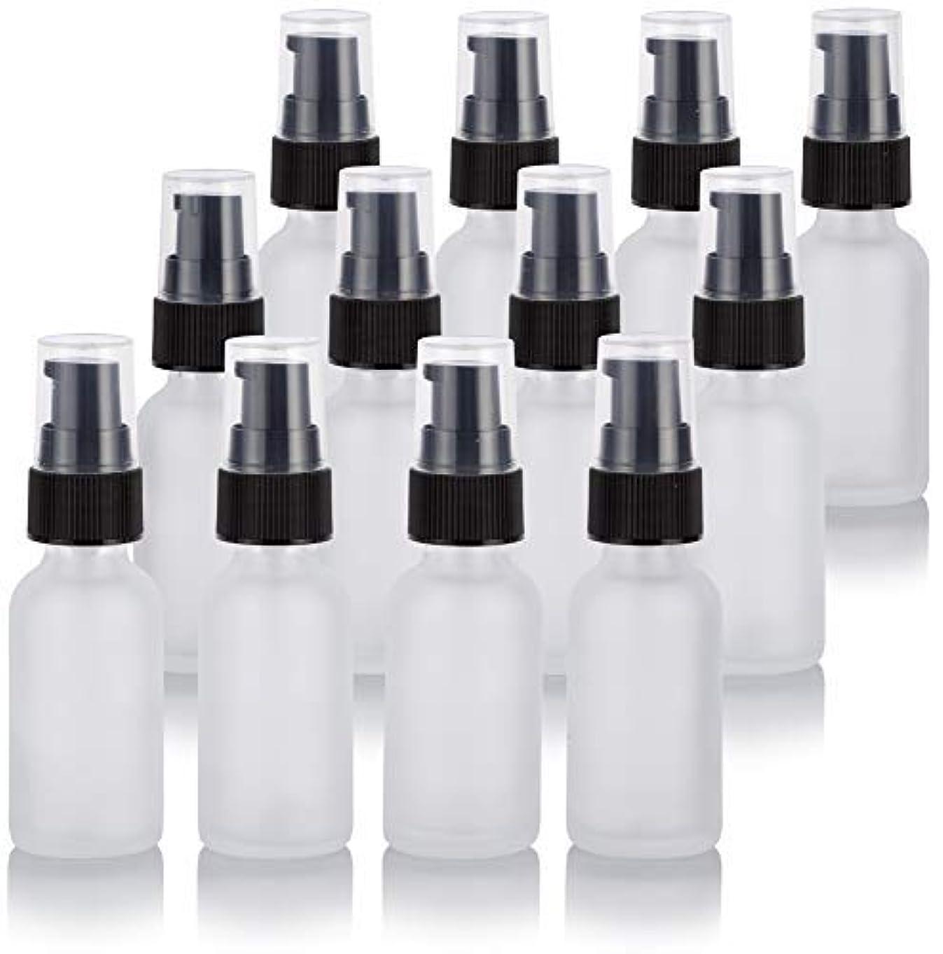 合計宇宙船アンペア1 oz Frosted Clear Glass Boston Round Treatment Pump Bottle (12 Pack) + Funnel for Cosmetics, serums, Essential...