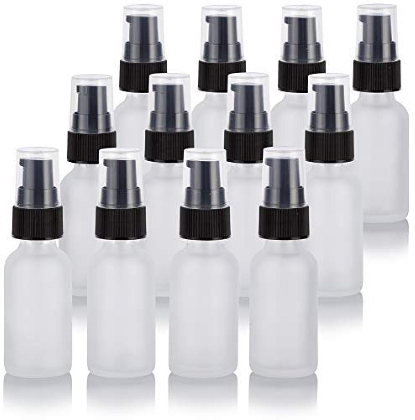 ごめんなさい失望させるバンカー1 oz Frosted Clear Glass Boston Round Treatment Pump Bottle (12 Pack) + Funnel for Cosmetics, serums, Essential...
