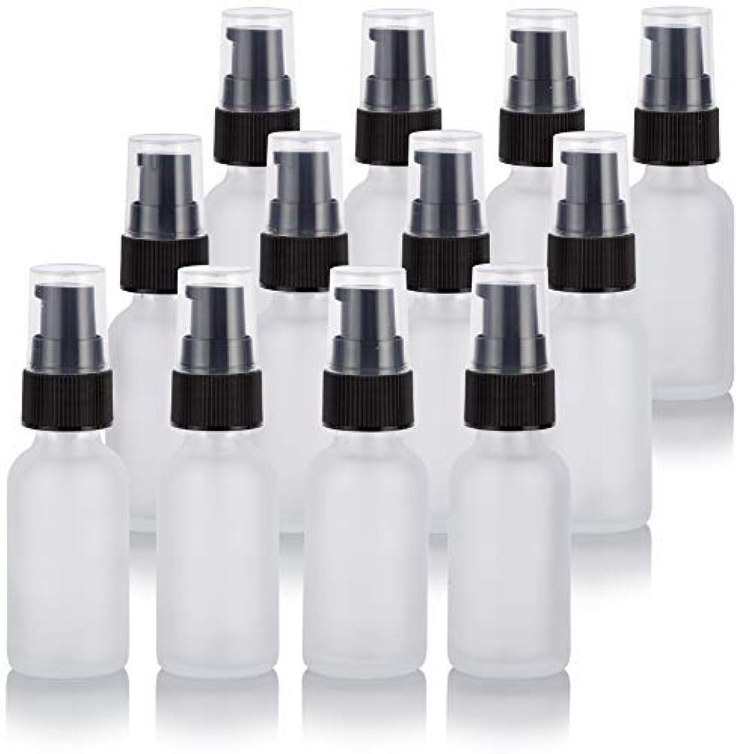 フィドルぴかぴかハロウィン1 oz Frosted Clear Glass Boston Round Treatment Pump Bottle (12 Pack) + Funnel for Cosmetics, serums, Essential...