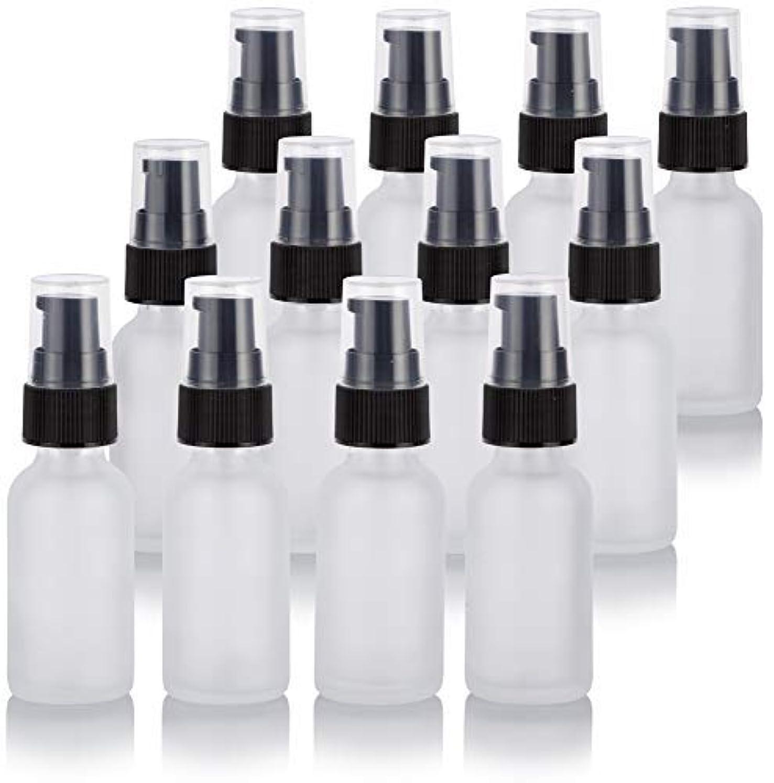 仕出します疑い者偏見1 oz Frosted Clear Glass Boston Round Treatment Pump Bottle (12 Pack) + Funnel for Cosmetics, serums, Essential...