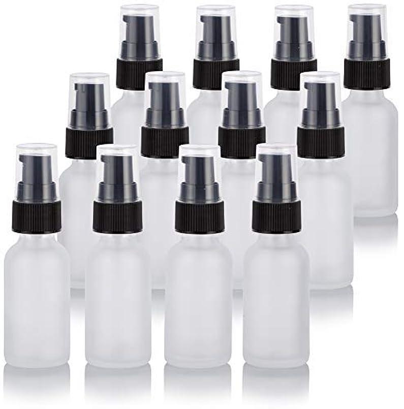 証人に対応するぴったり1 oz Frosted Clear Glass Boston Round Treatment Pump Bottle (12 Pack) + Funnel for Cosmetics, serums, Essential...