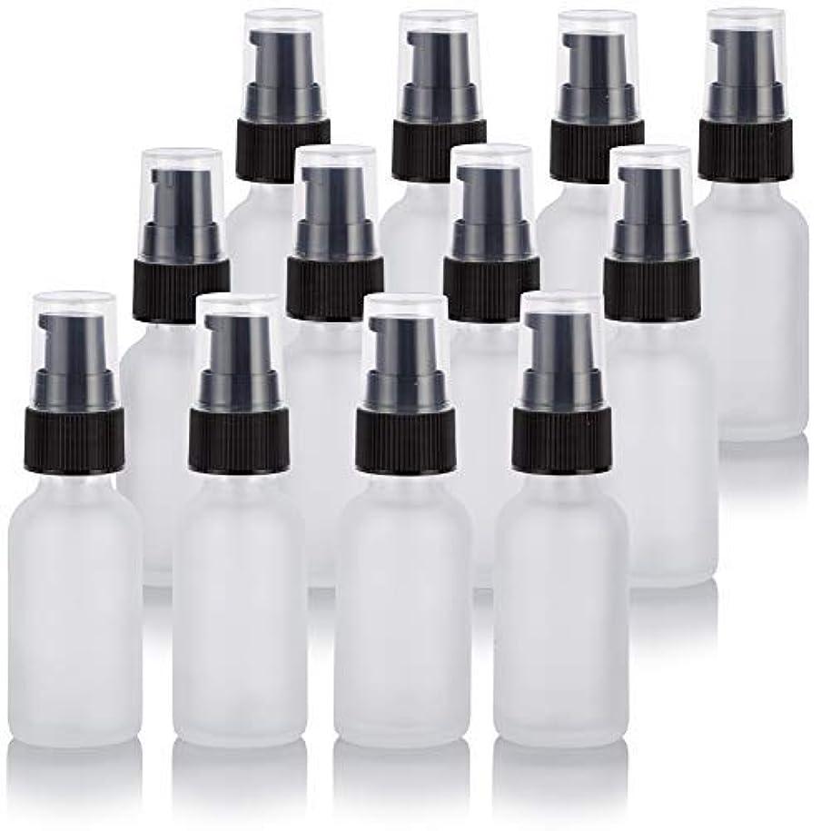 開発するなす失望させる1 oz Frosted Clear Glass Boston Round Treatment Pump Bottle (12 Pack) + Funnel for Cosmetics, serums, Essential...
