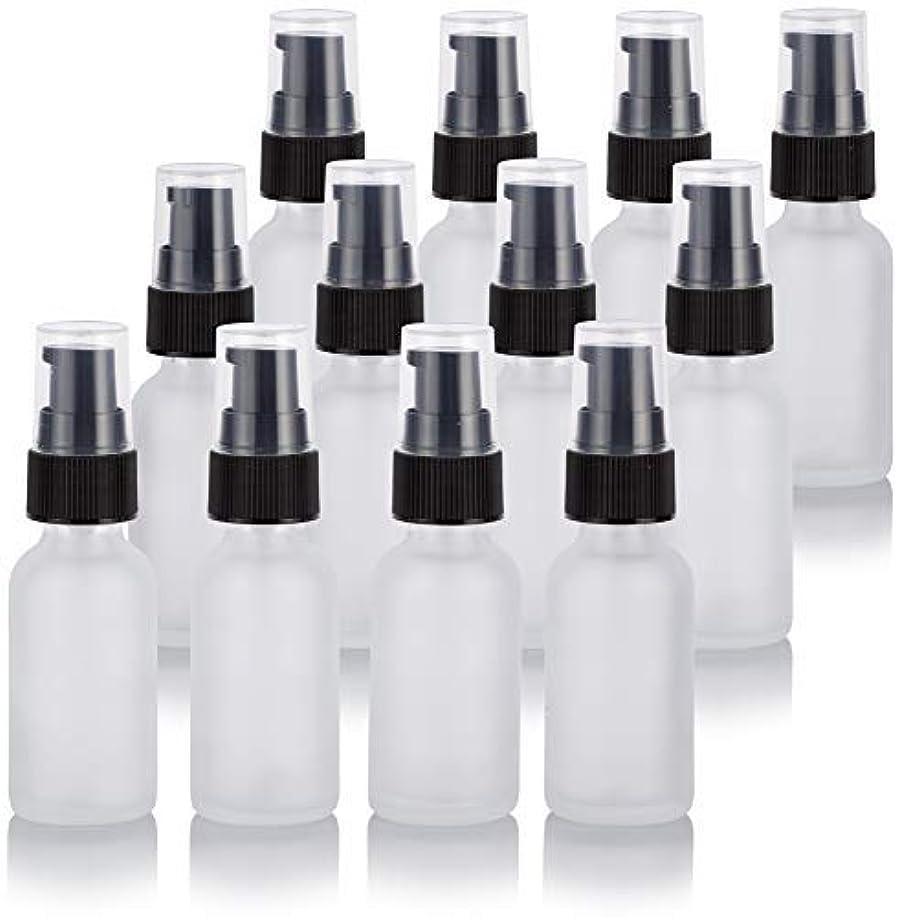 リスキーな天気ハイキング1 oz Frosted Clear Glass Boston Round Treatment Pump Bottle (12 Pack) + Funnel for Cosmetics, serums, Essential...