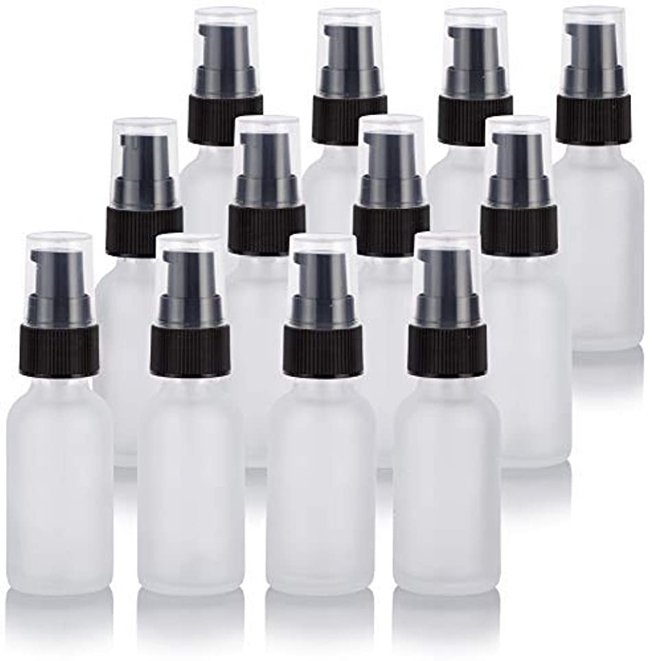 没頭する納税者舌1 oz Frosted Clear Glass Boston Round Treatment Pump Bottle (12 Pack) + Funnel for Cosmetics, serums, Essential...