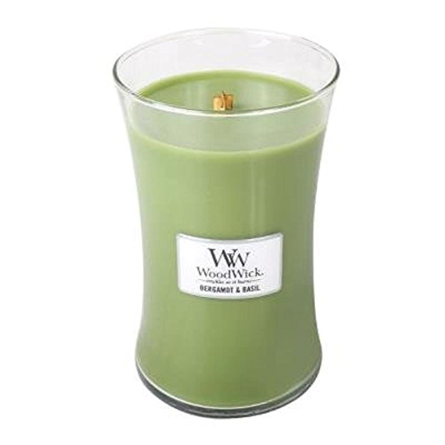 馬鹿懐危険を冒しますベルガモットBasil – Woodwick 21.5 Oz Large Jar Candle Burns 130時間