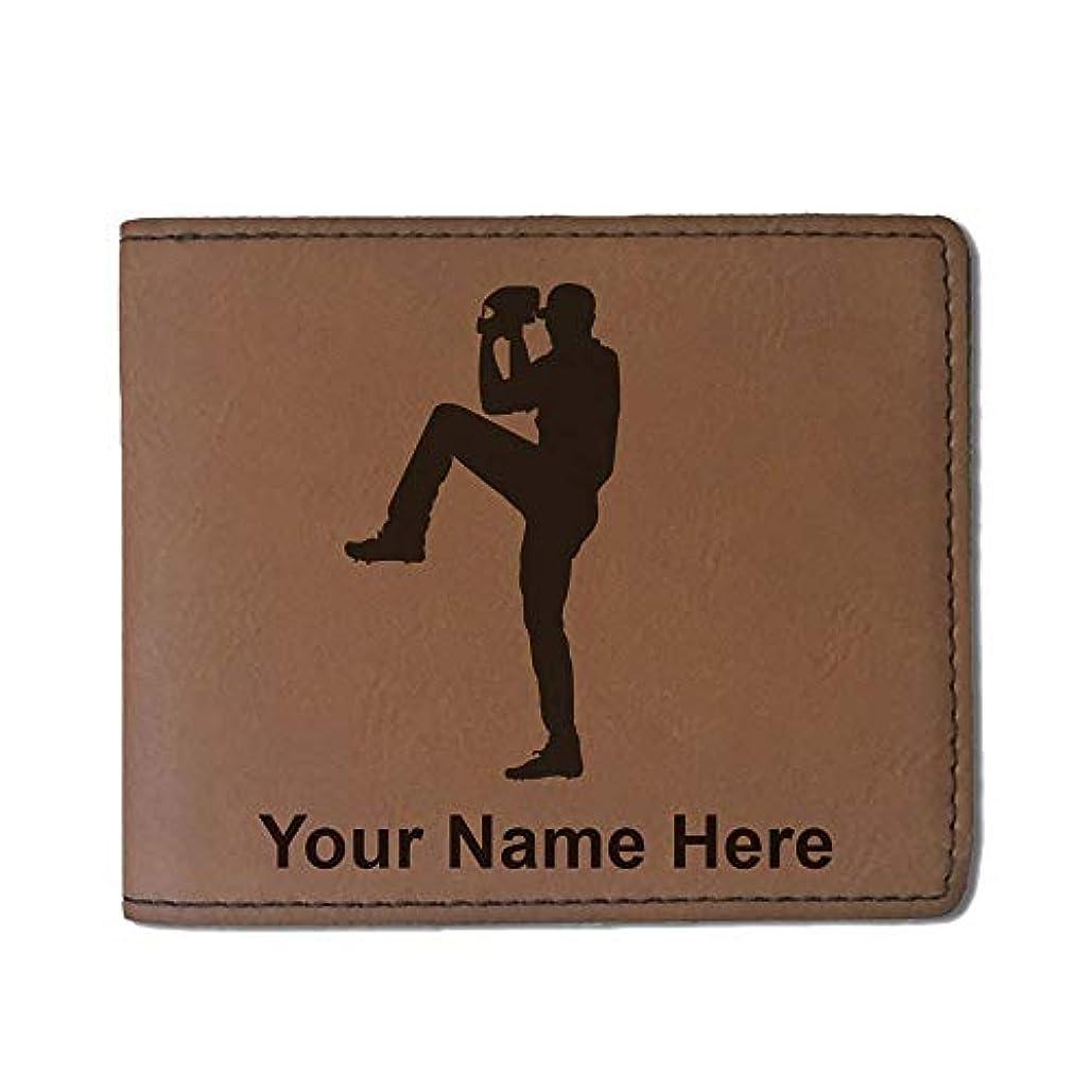 器用驚国内のフェイクレザー財布 – 野球ピッチャー – カスタマイズ彫刻Included (ダークブラウン)