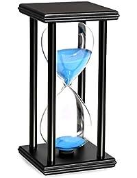 BOJIN 砂時計30分 インテリア すなどけい シンプル木製枠 卓上 ガラス タイマー オシャレ時計 かわいい キレイプレゼント 贈り物 モダン 海ブルー砂 30分計