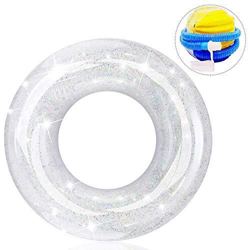 SZRWD 浮輪 、浮き輪 、フロート、水遊び ボート、水泳リング、大人用 、便利に携帯、大きい 厚、夏休み レジャー用品 (白)(ひとつの空気入れを贈ります))