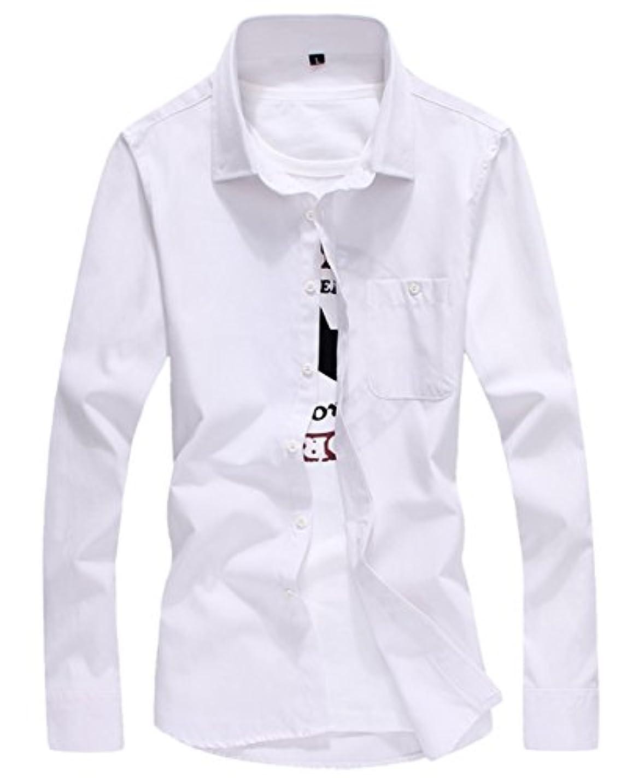 独占セグメントなぜなら[スゴフィ]SGFY ドレスシャツ メンズ 長袖 スリム ビジネス カジュアル シンプル おしゃれ 襟付き カッターシャツ フィット 無地 8色展開 (L, ホワイト)