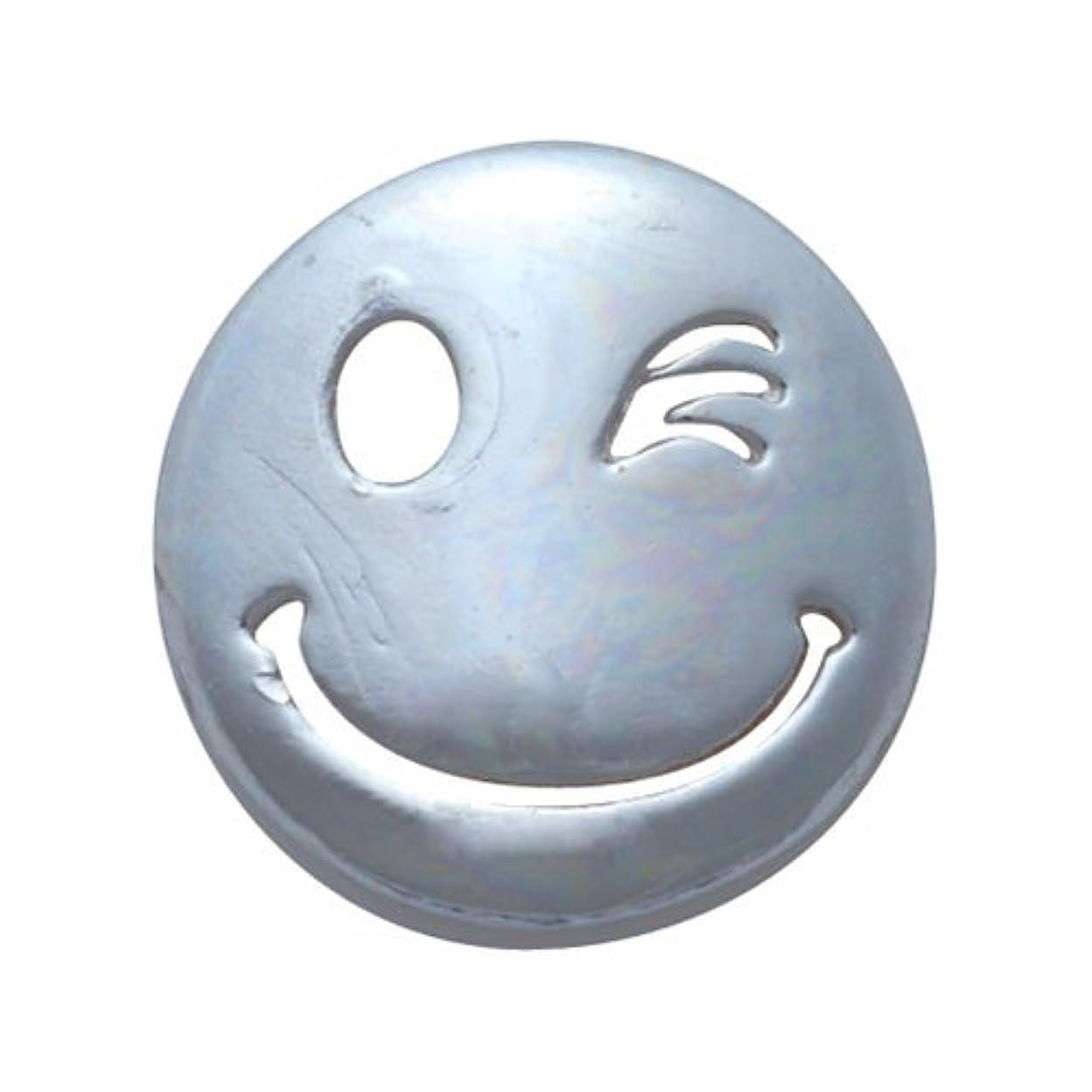 専門化するロック解除池プリティーネイル ネイルアートパーツ にこちゃんウィンクL シルバー  2個