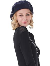 NiBao ウール100% ベレー帽子 レディース ハット 秋冬 アリス?金具 付きで高貴