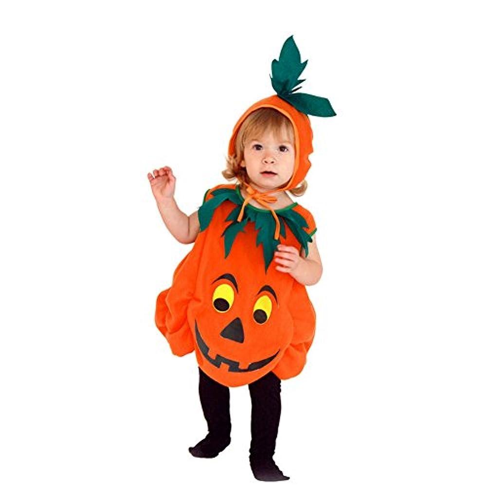 十分です口述最高PROKTH キッズ ハロウィン かぼちゃ オレンジ パンプキン かわいい 帽子 ポンチョ 2点セット ハロウィン仮装用