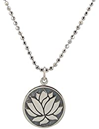 """Zoe and Piper Charms Round Lotus Necklace in Sterling Silver on 18"""" Sterling Silver Bead Chain, 6572"""