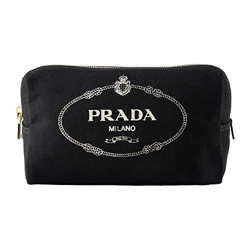 プラダ(PRADA) ポーチ 1NA693 20L F0N12 カナパ ロゴ ブラック 黒/ホワイト 白 [並行輸入品]