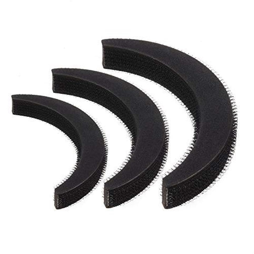 飲み込む静的想像するFeeko Hair Bump,3psc Hair Bumpit Roll Honeycomb Hair Bump Hair Pad Haight Hairdressing Set Tool Black [並行輸入品]