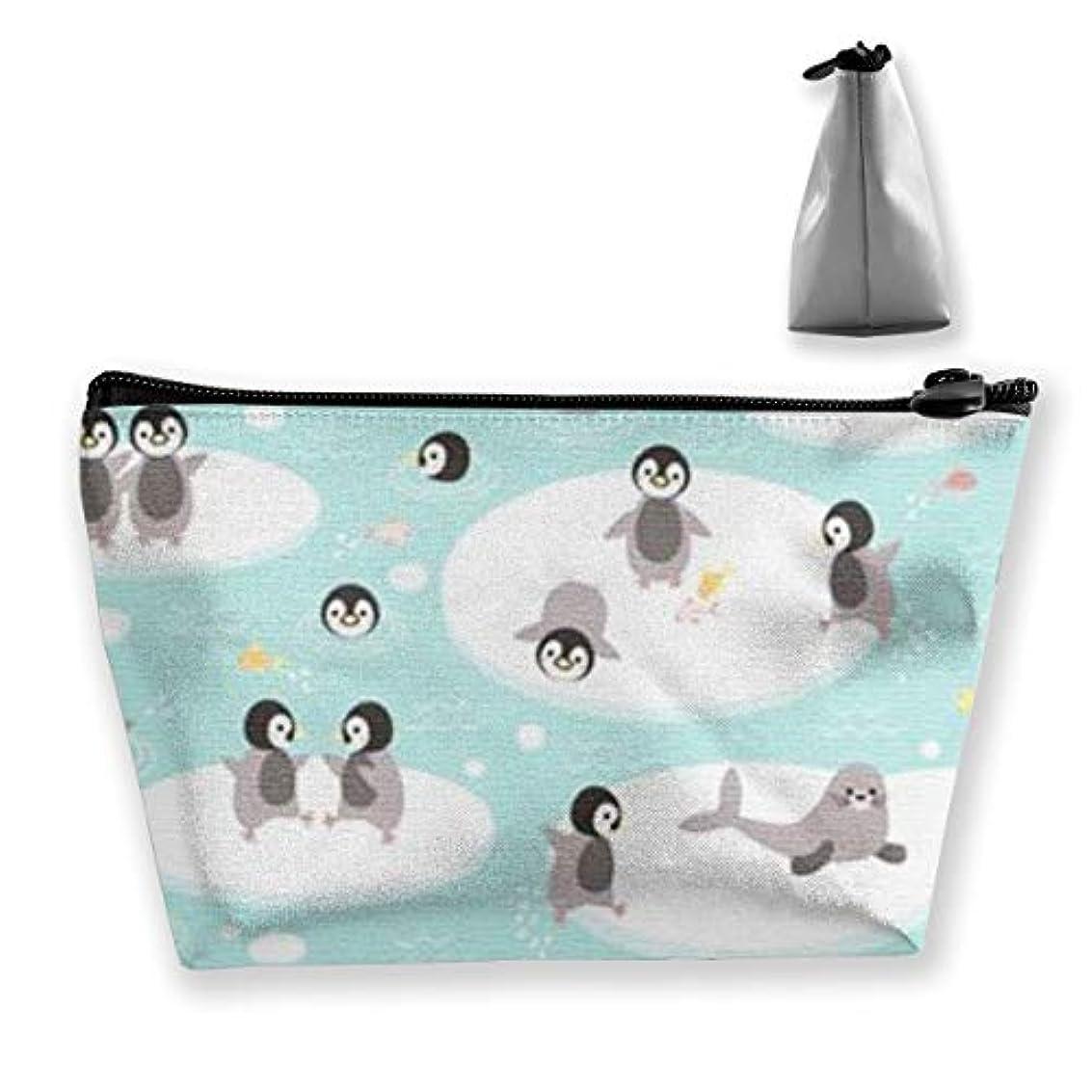 冷笑する失敗銀河ペンギンと幸せな北極圏 収納ポーチ 化粧ポーチ トラベルポーチ 小物入れ 小財布 防水 大容量 旅行 おしゃれ