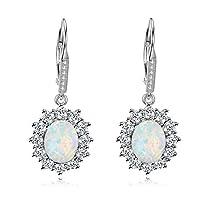 YFN Sterling Silver Created Oval Cut Birthstone Drop Dangle Women Leverback Earrings