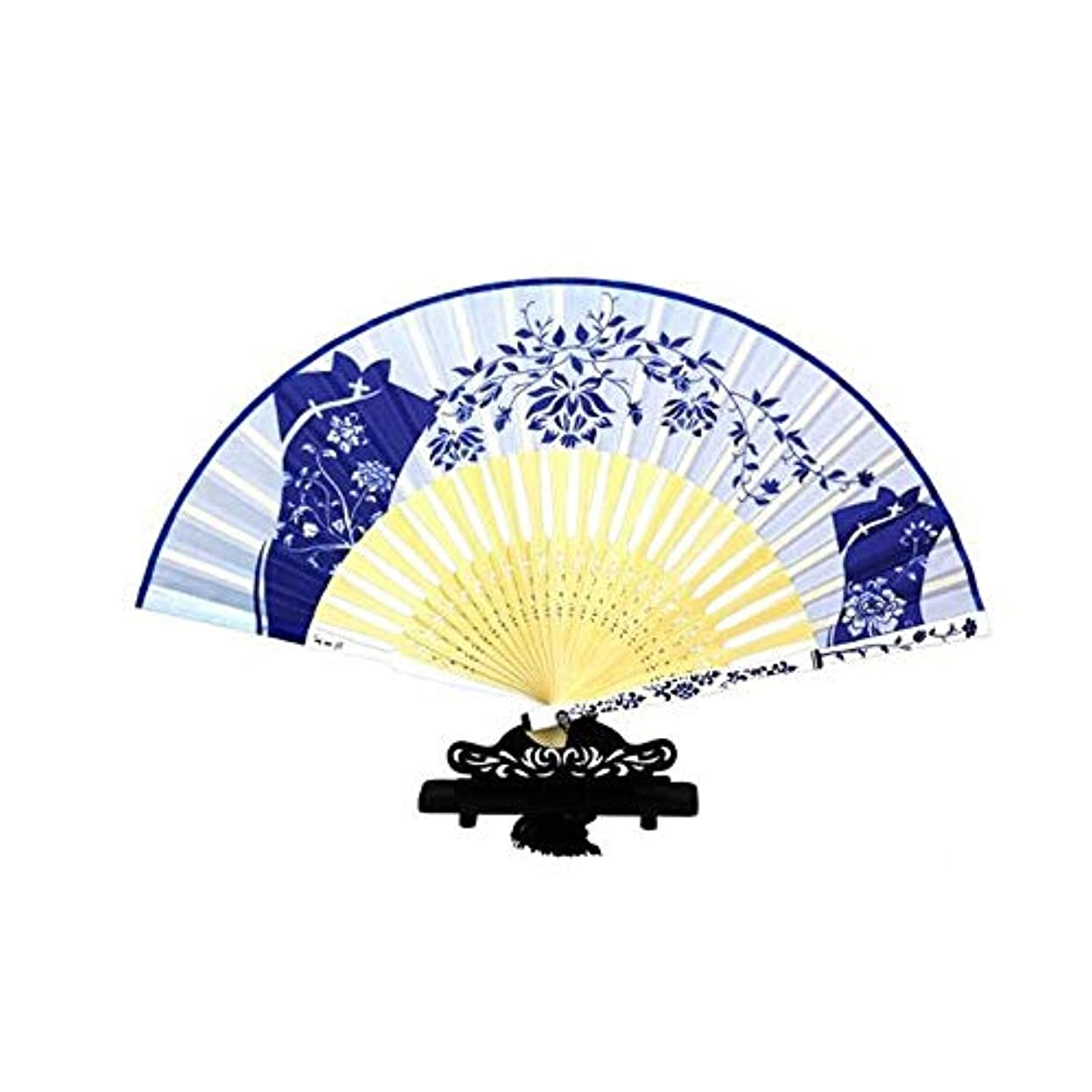 トライアスリート助けて属性QIANZICAI ファン、中国のスタイル青と白の磁器扇子、舞台小道具、ホームアクセサリー、サイズ21センチメートル折りたたみ。 ファン (Color : Blue-A)