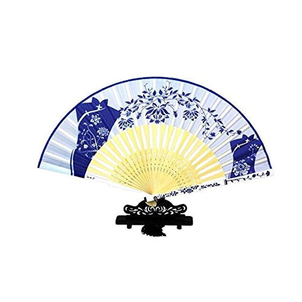 満たす芸術的入場料QIANZICAI ファン、中国のスタイル青と白の磁器扇子、舞台小道具、ホームアクセサリー、サイズ21センチメートル折りたたみ。 ファン (Color : Blue-A)