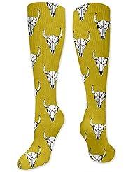 靴下,ストッキング,野生のジョーカー,実際,秋の本質,冬必須,サマーウェア&RBXAA Bison Bull Skull Yellow Socks Women's Winter Cotton Long Tube Socks...