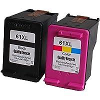 Delightcolor HP用 再生インク 残量表示付 HP 61 XL (ブラック 増量 + カラー 増量) 2個セット【対応機種】ENVY 5530 ENVY 4500 ENVY 4504 Officejet 4630