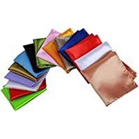 MENDENG Men's 15 Pack Pocket Squares Wedding Party Plain Solid Handkerchief Set