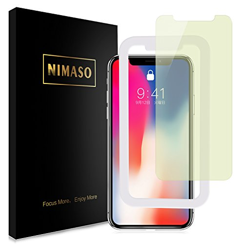【ブルーライトカット】 Nimaso iPhoneX/iPhoneXs 用 強化ガラス液晶保護フィルム【ガイド枠付き】3D Touch対応/業界最高硬度9H (iPhone X/Xs 用)【1枚セット】