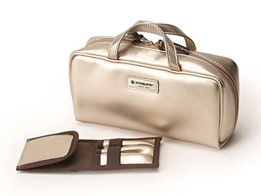日付ステップ危険にさらされている[アルティザン&アーティスト] ブラシケース付きバッグ型ポーチ<Daily Gold(デイリーゴールド)> 8WP-PT619 ゴールド