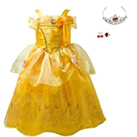 aa4cdf4156ebe MISOAMISO 美女と野獣 ベル 風 キッズ コスチューム プリンセス 子供ドレス 4点セット ワンピース 女の子