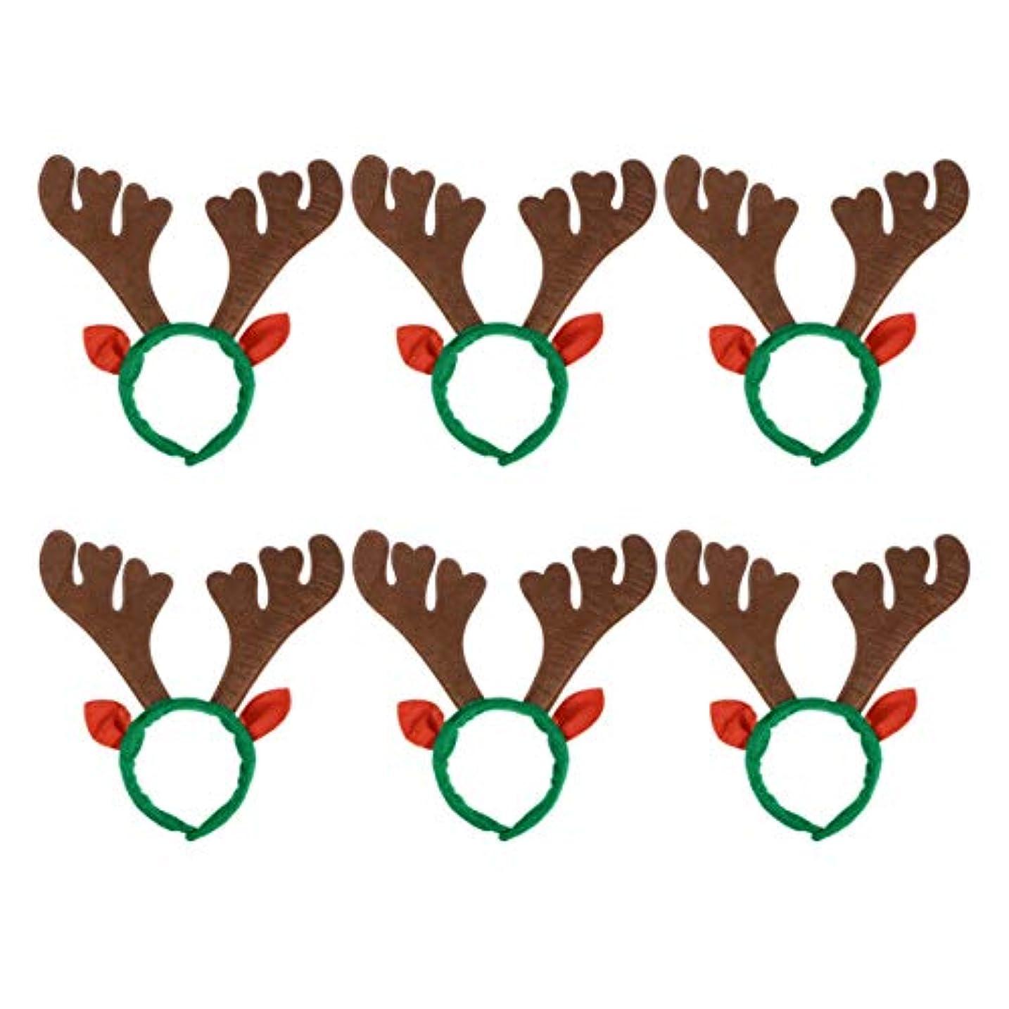 クランプ差し迫った告白Lurrose 6ピーストナカイヘアフープ動物耳カチューシャクリスマスヘアアクセサリー用パーティー小道具
