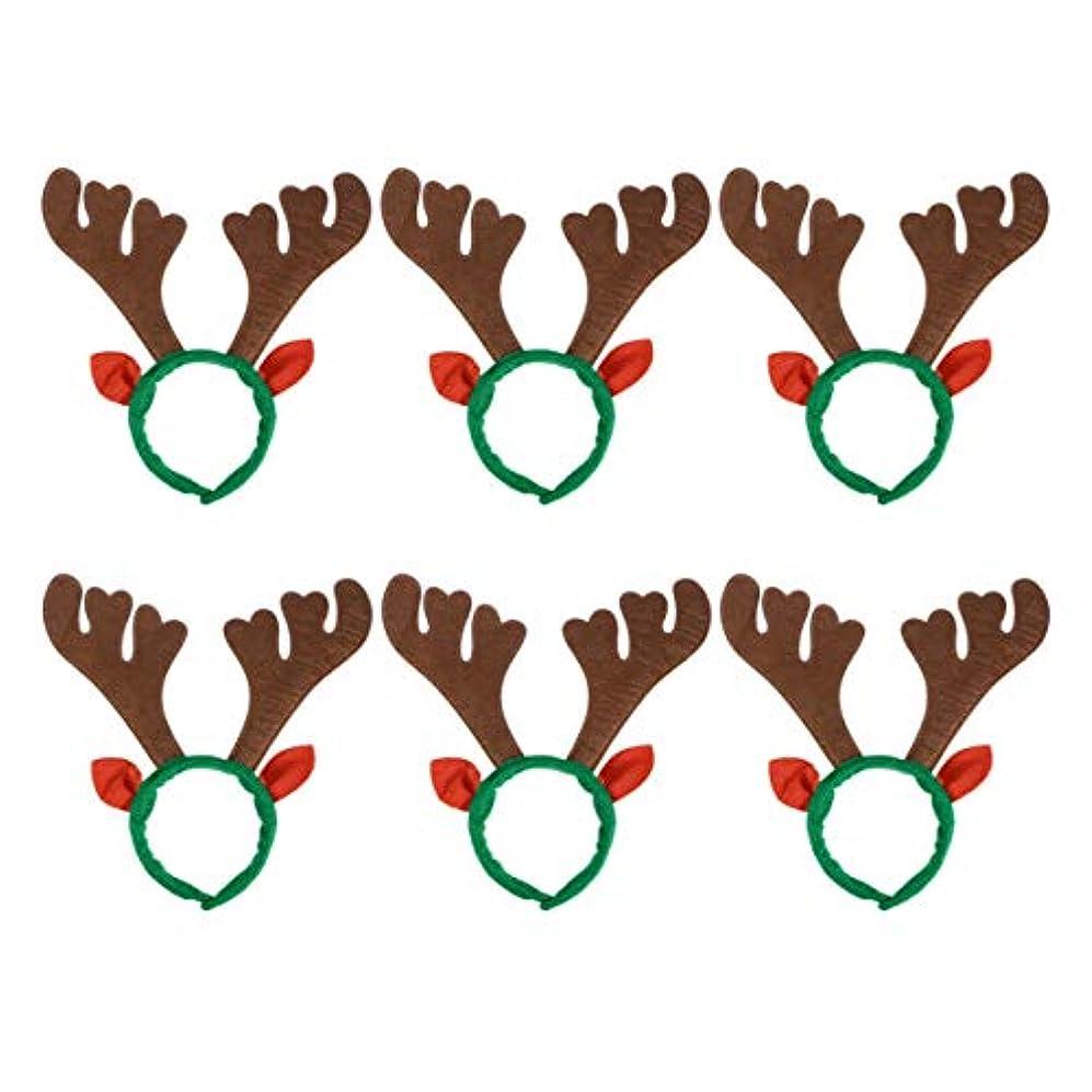 ビーム空洞失望させるLurrose 6ピーストナカイヘアフープ動物耳カチューシャクリスマスヘアアクセサリー用パーティー小道具