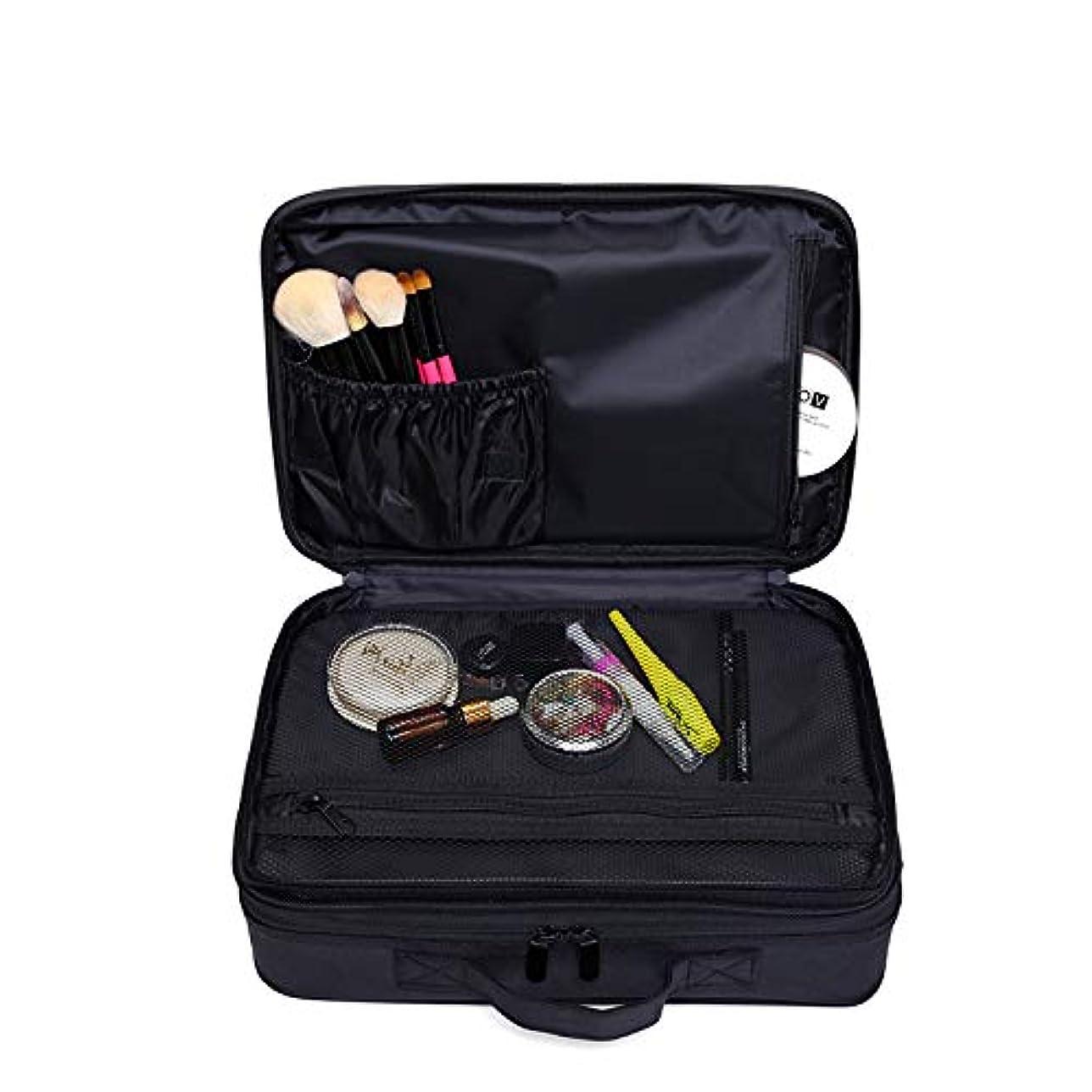 偏見アスレチック平手打ちメイクボックス 大容量 コスメボックス プロ用 持ち運び便利 高品質3層化粧箱 收納抜群コスメ収納 多機能 旅行用 ブラック