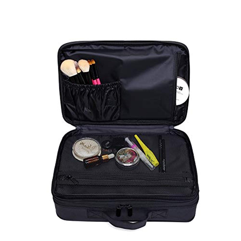 ハッチ鮫宙返りメイクボックス 大容量 コスメボックス プロ用 持ち運び便利 高品質3層化粧箱 收納抜群コスメ収納 多機能 旅行用 ブラック