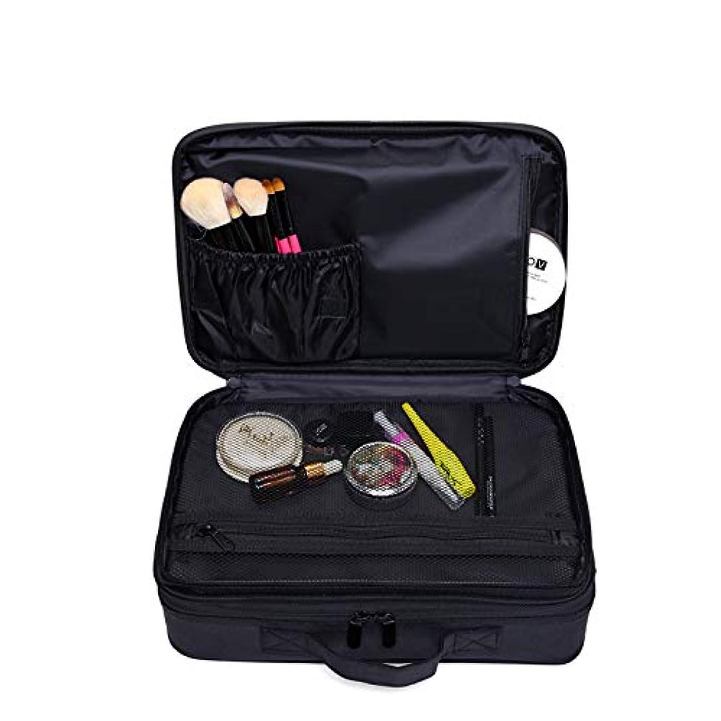 素朴なピースローラーメイクボックス 大容量 コスメボックス プロ用 持ち運び便利 高品質3層化粧箱 收納抜群コスメ収納 多機能 旅行用 ブラック