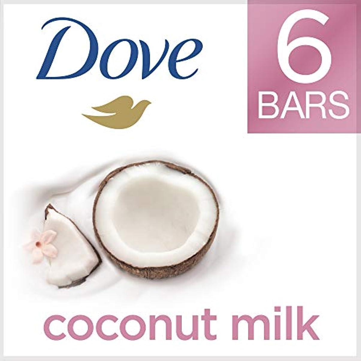 流用する従事する行くDove ビューティーバー、ココナッツミルク、4オンス、6バー