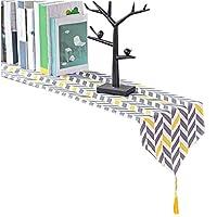 テーブルランナー 黒と黄色のスラッシュ色のテーブル旗の布幾何学図吊り吊りファッション単純な北欧のコーヒーベッドウェディングホテル宴会装飾30cm * 120cm UOMUN (サイズ さいず : 240cm)