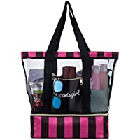 Mesh Beach Tote Bag, Mesh Beach Bag with Waterproof Bottom Compartment for Shoes and Towel, Toy Tote Bag for Gym, Dry and Wet Separated Bag for Swimming Pool and Beach, Breathable and Easy to Clean