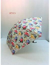 ノーブランド品 折畳傘 婦人 ポリエステル転写プリントフラワー柄日本製 丸ミニ折畳雨傘