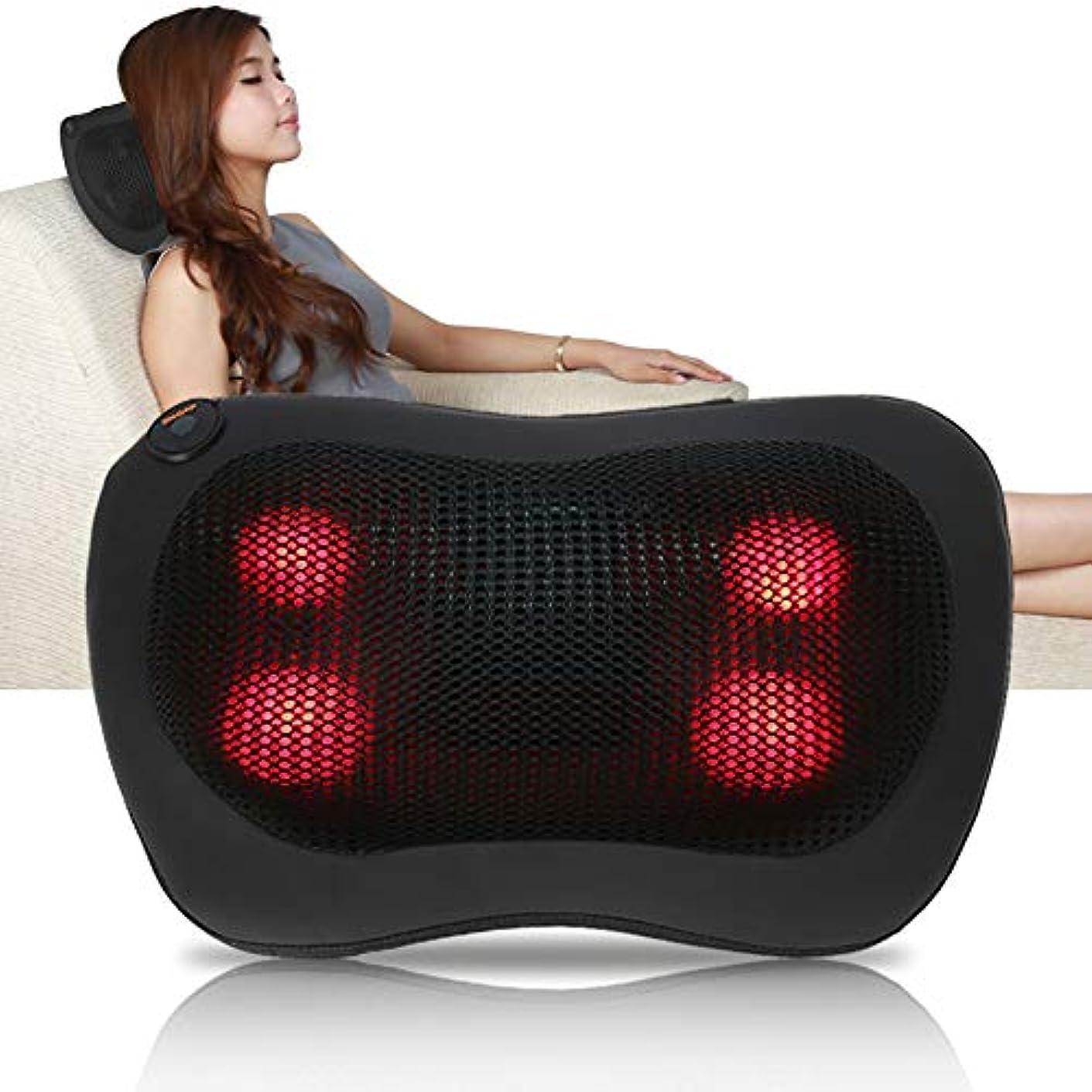 うぬぼれた成功するコンテスト携帯用 電気マッサージの枕 暖房療法 首のウエスト 足の腕 マッサージ用具(ブラック)
