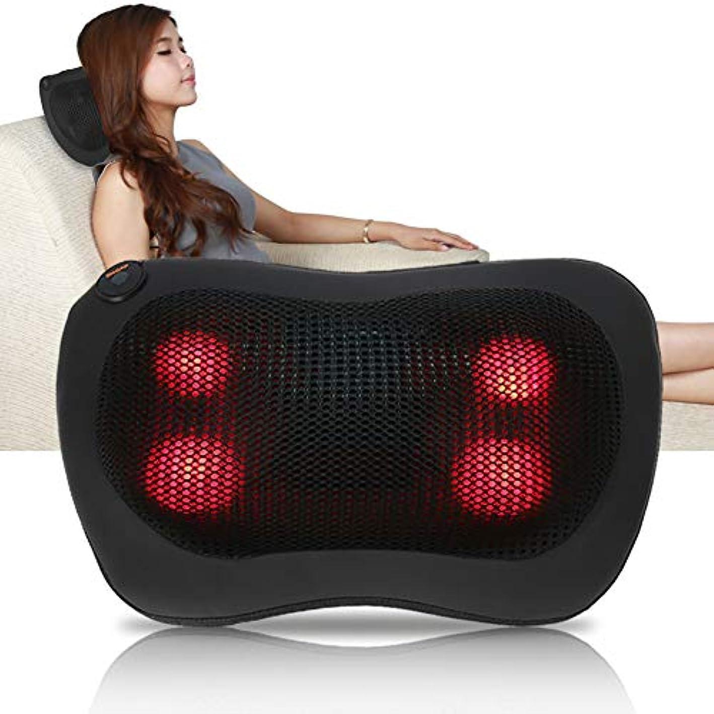 携帯用 電気マッサージの枕 暖房療法 首のウエスト 足の腕 マッサージ用具(ブラック)