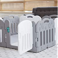Caraz Baby Room Door Set扉を含む、セルフプレーが赤ちゃんフェンス、安全ガードベビー接続し、拡張可能な8P(並行輸入品) (gray)