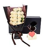ソープフラワー AlfaView 花束 ギフト バラ ユリ 枯れない花 お祝い 結婚祝い プロポーズ プレゼント 結婚記念日 バレンタインデー 誕生日祝い 母の日 敬老の日 カード付き(18本) (白)