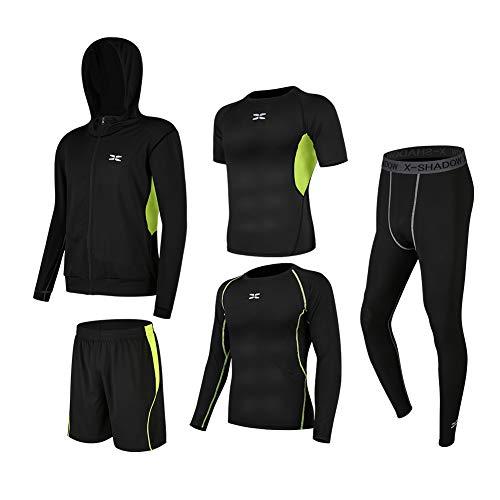(シーヤ) Seeya コンプレッションウェア セット スポーツウェア メンズ 長袖 半袖 冬 上下 5点セット 6カラー トレーニング ランニング 吸汗 速乾 (M, 黒&緑(5点セット))